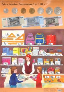Математика. Комплект таблиц для начальной школы. Рубль. Копейка. Задачи, обратные данной - Светлана Волкова