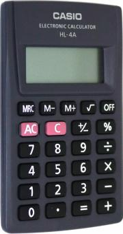 Калькулятор карманный Casio черный, 8-разрядный (HL-4A)