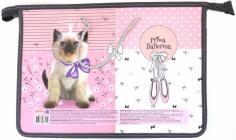 """Папка детская на шнурках """"Котёнок с бантиком"""" (А4, пластик) (П-6751)"""