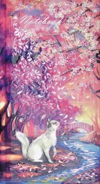 """Записная книжка """"Цветение сакуры"""", 80 листов, 110х206 мм, линия, точка (58316)"""