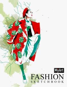 Fashion скетчбук на гребне. Дама в красном пальто