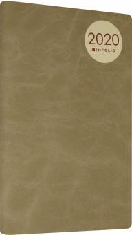 """Еженедельник на 2020 год датированный 13х20 см """"Mod"""" мягкая обложка (AZ911/light-brown)"""