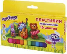 """Пластилин 16 цветов, """"ЮНЛАНДИК-МУЗЫКАНТ"""" (105030)"""