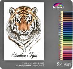 """Карандаши цветные """"Тигр"""" (24 цвета, металлическая коробка) (32871)"""