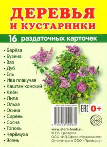 """Раздаточные карточки """"Деревья и кустарники"""" (16 карточек)"""