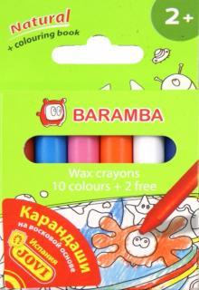 Карандаши 12 цветов, восковые в картонной коробке (B98012)