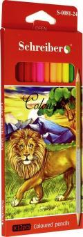 Карандаши цветные двухсторонние (24 цвета, 12 штук) (S 0081-24)