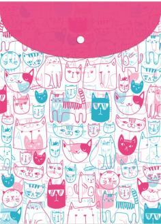 """Папка для документов пластиковая, на кнопке, вертикальная """"Коты"""", А4 (53480)"""